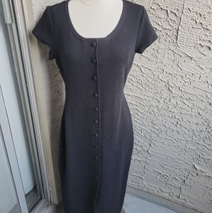 Retro 90's Y2K Button Front Ribbed Maxi Dress